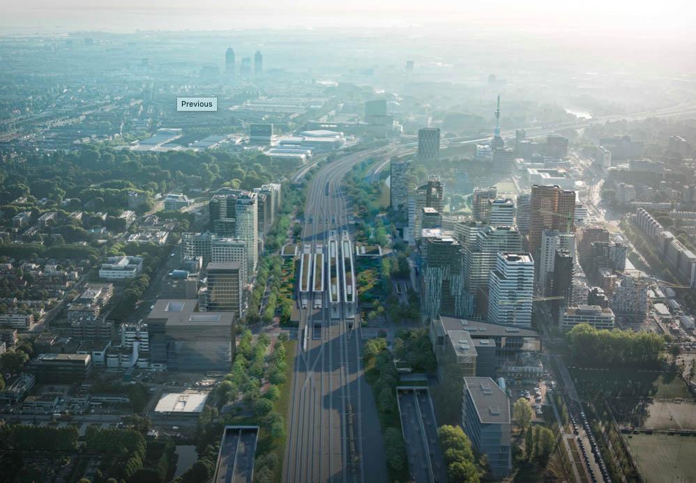 Zuidasdok, ontworpen door ZuidPlus Architects – een samenwerking tussen Team V Architectuur, ZJA Zwarts & Jansma Architecten, Bosch Slabbers. Opdrachtgever: ZuidPlus – een consortium gevormd door Fluor, HOCHTIEF en Heijmans